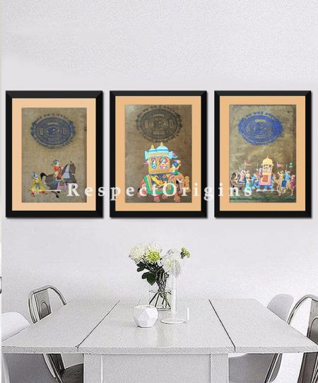 Royal Procession; Set of 3; Miniature Painting; Vertical; Traditional Rajasthani Wall Art