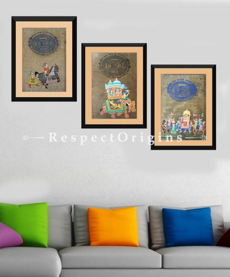 Buy Royal Procession; Set of 3; Miniature Painting; Vertical; Traditional Rajasthani Wall Art at RespectOrigins.com
