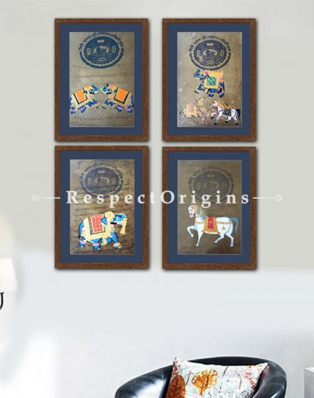 Buy Royal Transport; Set of 4; Miniature Painting; Vertical; Traditional Rajasthani Wall Art at RespectOrigins.com