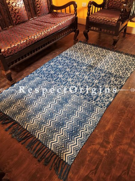 Fine Natural Dyes Hand-block printed Durrie Floor Area Rugs; width 48  Inches x length 74 Inches at Respectorigins.com