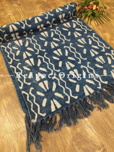Fine Natural Dyes Hand-block printed Durrie Floor Area Rugs; width 20  Inches x length 80 Inches at Respectorigins.com