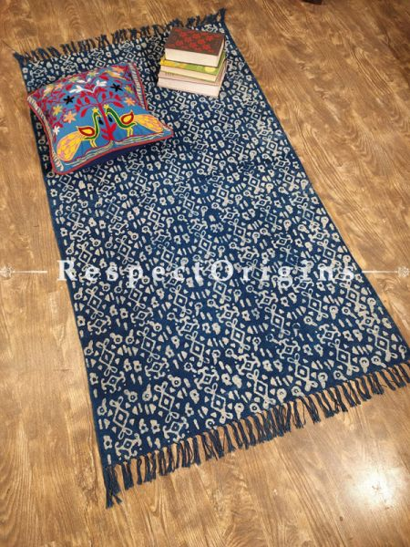 Indigo Blue Hand-block printed Durrie Floor Area Rugs; Width 36  Inches x Length 60 Inches at respect origins.com