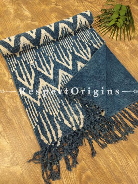 Indigo Blue and Beige Hand-block Printed Durrie Floor Area Rugs Runner; width 20  Inches x length 80 Inches at respect origins.com