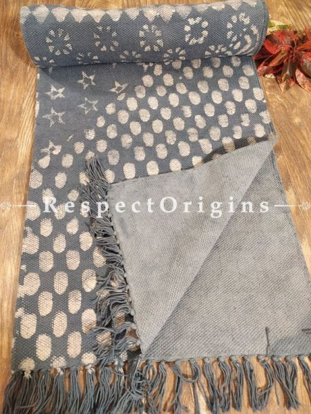 Grey Hand-block printed Durries Floor Area Rugs; Width 36  Inches x lLngth 60 Inches. at respect origins.com