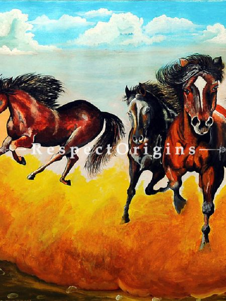 Running Horses Painting, Acrylic On Canvas - 55In x 29In