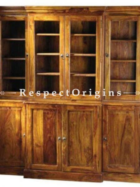 Buy AlexCountry China Cabinet Hutch or Bookcase in Solid Hand Crafted Wood. 4 Doors Showcase plus Storage. At RespectOrigins.com