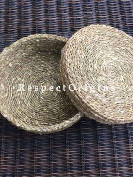 Natural Colour Eco-friendly Sabai Grass Fruit Basket With Lid; H4xD8 Inches; RespectOrigins.com