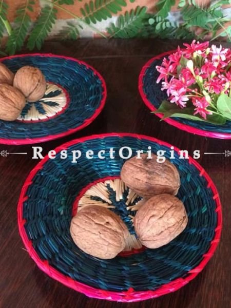 Handwoven Eco-friendly Blue Floral Pattern Sikki grass with Pink Border Basket - Set of 3; RespectOrigins.com