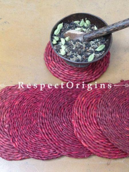 Set of 6 Handmade Eco-Round Sabai Grass Tea Coasters in Red; 5 Inches Diameter; RespectOrigins.com