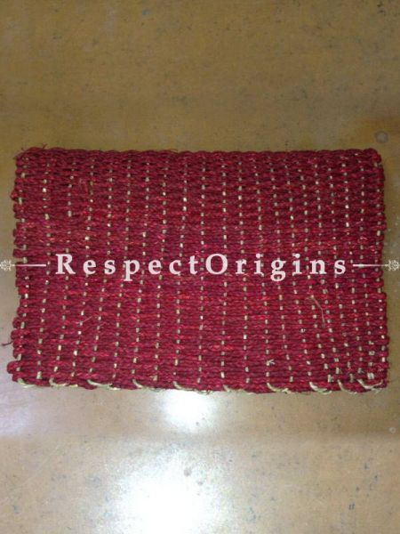Red Handmade Eco-friendly Sabai Grass Floor Mat; W18xL24 Inches; RespectOrigins.com