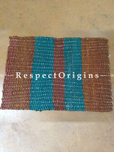 Brown and Blue Handmade Eco-friendly Sabai Grass Floor Mat; W18xL24 Inches; RespectOrigins.com