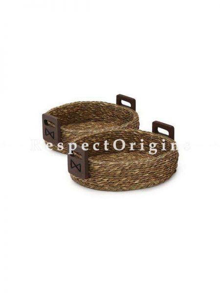 Set of 2 Hand Made Eco Friendly Sabai Grass Round Fruit Basket; 9 x 3; RespectOrigins.com