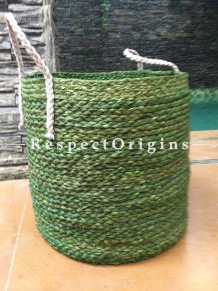 Green Handmade Sabai Grass Eco-friendly Laundry Basket; D13xH14 Inches; RespectOrigins.com
