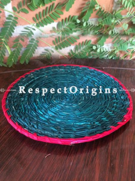 Handwoven Eco-friendly Blue Sabai Grass with Red Border Place Mats- Set of 3; RespectOrigins.com