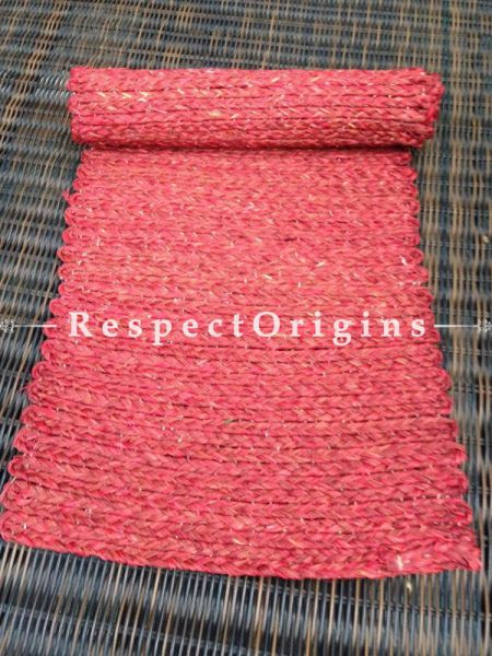 Red Handmade Eco-friendly Sabai Grass Red Table Runner; W13xL38 Inches; RespectOrigins.com