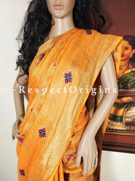 Saffron Matka Silk Handloom Saree Hand-embroidered Soof; Zari Border Online at RespectOrigins.com