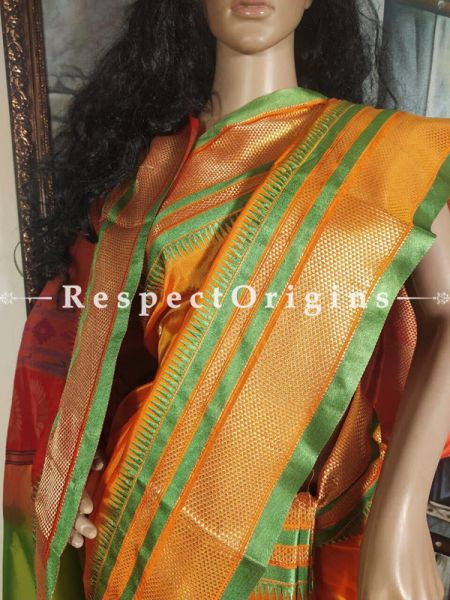 Saffron Orange and Leaf Green Zari Border Paithani Handloom Silk Saree  ; RespectOrigins.com