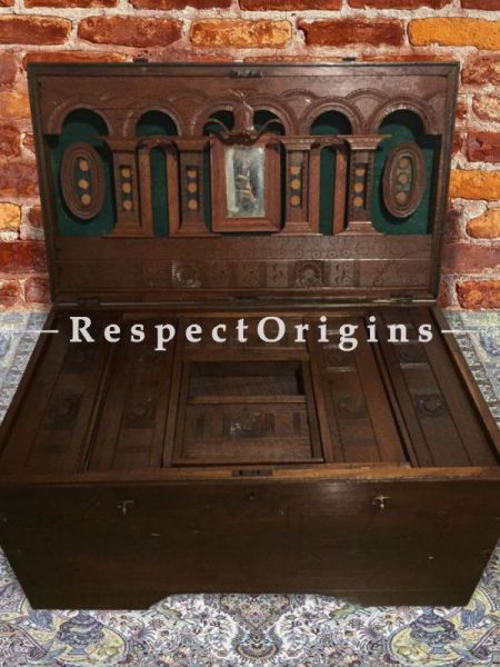 Saloni Antique Teak Wood Dowry Chest at RespectOrigins.com