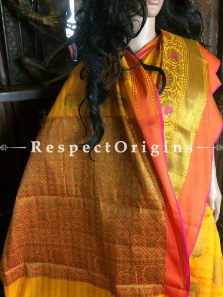 Yellow-Orange Handwoven Banarasi Cotton Silk Saree; Zari Border & Butis; RespectOrigins.com