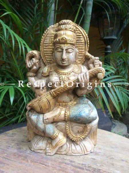 Buy Saraswati Idol or Figurine; Beige, Tamil Nadu Wood Craft 10x3x6 in At RespectOrigins.com