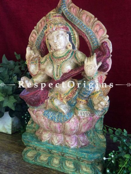 Buy Saraswati Idol or Figurine; Tamil Nadu Wood Craft, 19x3x10 in At RespectOrigins.com