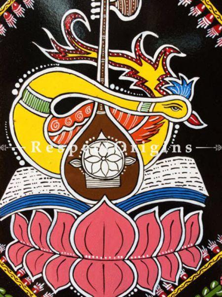 Buy Saraswati; Square Tikuli Art Hand Painted Folk Wall Art; 12x12 in At RespectOrigins.com