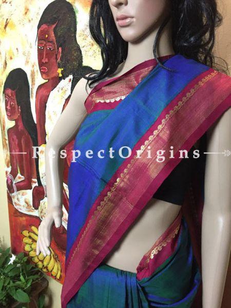Kanjeevaram Blue Silk Saree; RespectOrigins.com