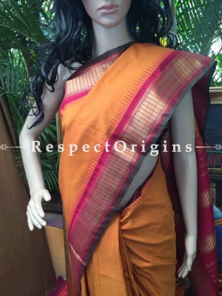 Kanjeevaram Silk Saree Yellow, RespectOrigins.com