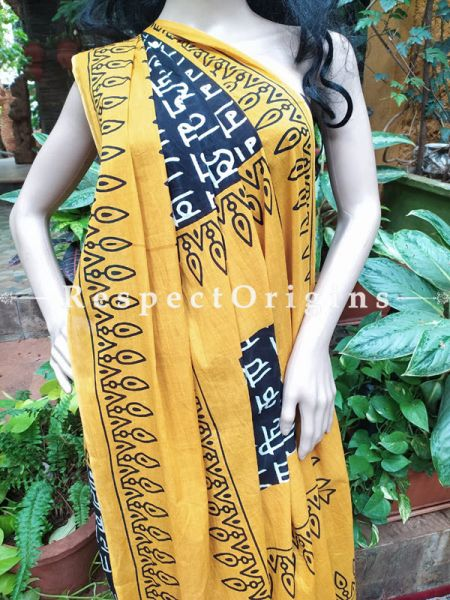 Buy Orange and Black Hand-block-printed Cotton Mul Saree with Blouse;At RespectOrigins
