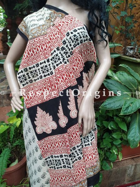 Buy White and Black Hand-block-printed Cotton Mul Saree with Blouse;At RespectOrigins