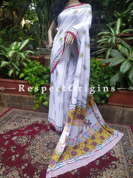 Buy White Base Hand-block-printed Cotton Mul Saree with Blouse;At RespectOrigins