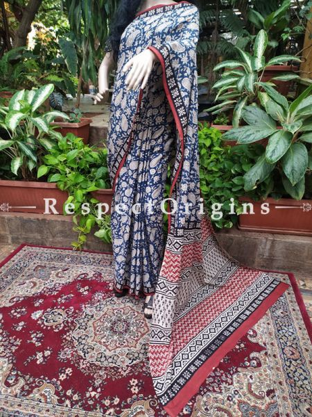 Buy Blue Base Hand-block-printed Cotton Mul Saree with Blouse;At RespectOrigins