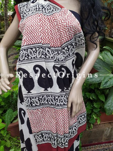 Buy Black and White Hand-block-printed Cotton Mul Saree with Blouse;At RespectOrigins