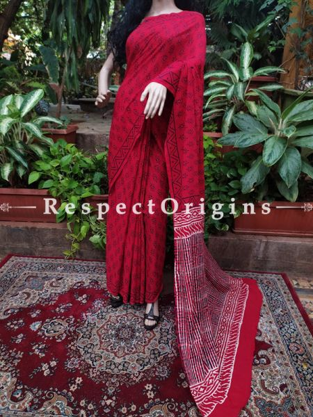 Buy Red Hand-block-printed Cotton Mul Saree with Blouse;At RespectOrigins