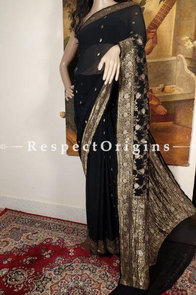 Unique Antique Black and Zari Benarasi Evening Georgette Saree
