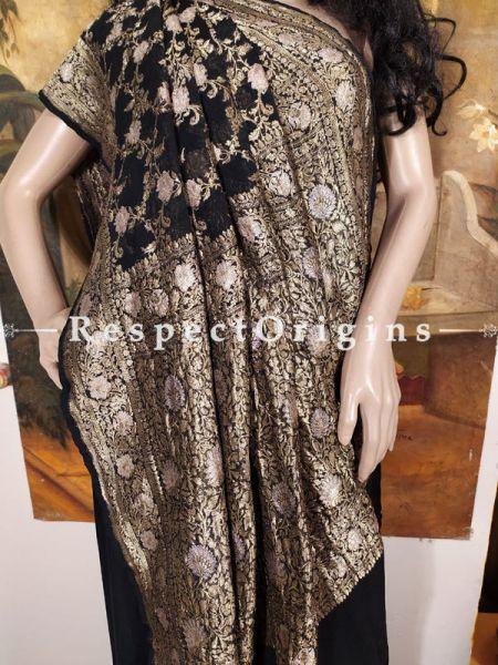 Buy Unique Antique Black and Zari Benarasi Evening Georgette Saree at RespectOrigins.com