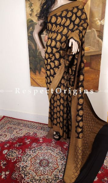Vintage Georgette Saree Handloom Woven Motifs for Evenings or Formal Wear