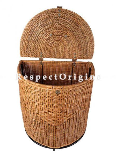 Buy Semi Circular Handwoven Rattan Cane Laundry Basket with Lid|RespectOrigins