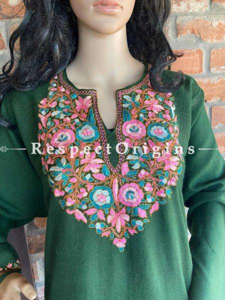 Pashmina Wollen Pheran Green Top with Papier Mache Embroidery; 44 Size; RespectOrigins.com