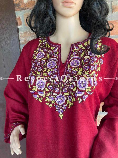 Pashmina Wollen Pheran Maroon Top with Papier Mache Embroidery; 44 Size; RespectOrigins.com