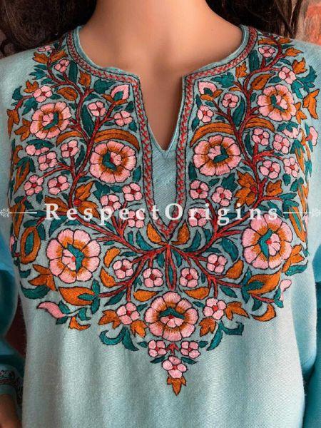 Pashmina Wollen Pheran Light Blue Top with Papier Mache Embroidery; 44 Size; RespectOrigins.com