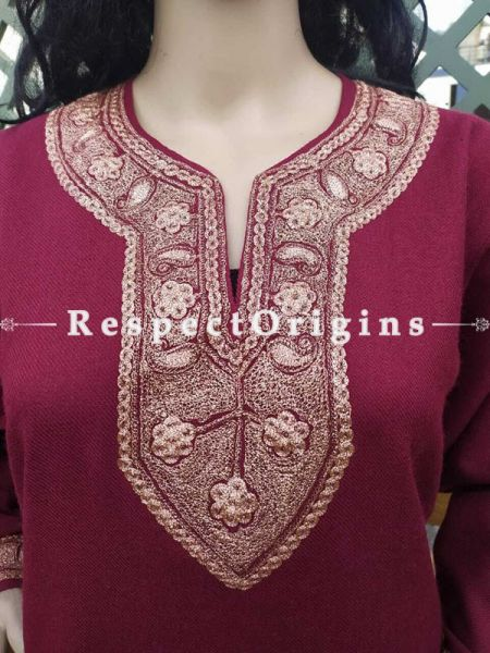 Luxurious Soft Semi-Pashmina Cherry Red Kashmiri Pheran Top with Tilla Embroidery; Free Size.Gift for Christmas ; RespectOrigins.com