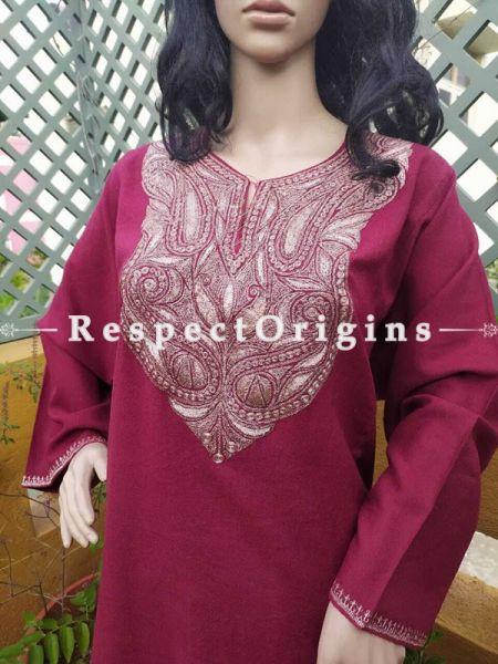 Luxurious Soft Semi- Pashmina Red Kashmiri Pheran Top with Tilla Embroidery; Free Size  Christmas Gifts.; RespectOrigins.com