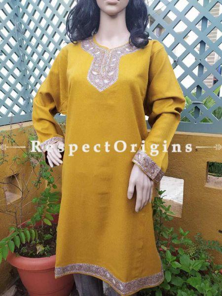 Luxurious Soft  Semi-Pashmina Mustard Yellow Kashmiri Pheran Top with Tilla Embroidery; Free Size; RespectOrigins.com
