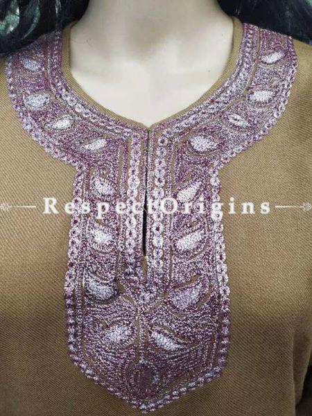 Luxurious Soft Semi-Pashmina Brown Kashmiri Pheran Top with White Tilla Embroidery; Free Size; RespectOrigins.com