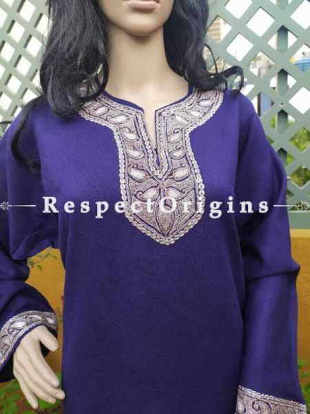 Luxurious Soft Ladies Pheran, Kashmiri, Tilla Embroidery on blue base, Semi Pashmina; RespectOrigins.com