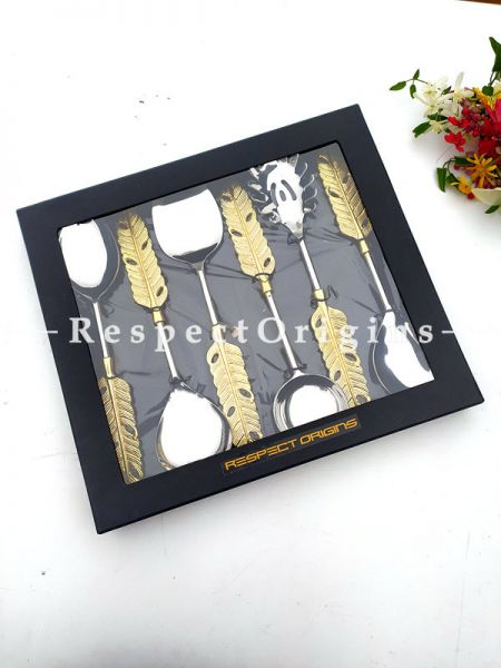 Designer Handcrafted Steel Serve-ware Set of 6 with Metallic Brass Earthy Handles for Dining; 11 Inches; RespectOrigins.com
