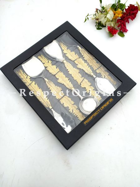 Gorgeous Handcrafted Designer Serveware Spoons Set of 6 ;Earthy Brass with Gold Coated Handles; Boxed Gift Set; 11 Inches; RespectOrigins.com