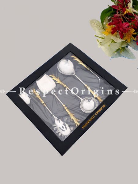 Spectacular Handcrafted Serving Spoons Set with Gold coated Brass; Formal Festive Dining or Boxed Gift; 11 Inches; RespectOrigins.com