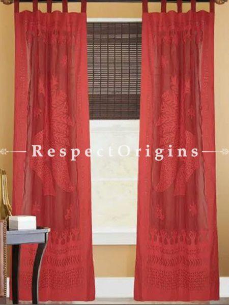 Buy Stunning Maroon Peacock Design Applique Cut Work Cotton Window or Door Curtain; Pair At RespectOrigins.com